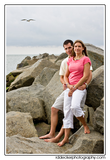 Rock jetties make excellent locations for beach portraits along North Carolina's Outer Banks.